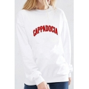Simple Letter Printed Long Sleeve Round Neck Pullover Casual Sweatshirt