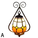 Rustic Style Triangle Shape Mini Tiffany Table Lamp with Curved Metal Frame in 2 Designs