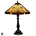Geometrical Patterned Handmade Table Lamp with Tiffany Stained Glass Shade and Antique Bronze Base