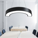 LED Direct Indirect Lighting Semi Round Led Pendant Lighting Black/White 11.81