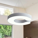 Black/White Acrylic Round Eclipse Shaped Led Pendant Lighting 25W/38W Energy-Saving Metal C-Shaped Geometric Chandelier Ceiling Lights for Office Kitchen Hallway 17.7