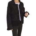 Corduroy Plain Long Sleeve Lapel Collar Button Front Cropped Jacket