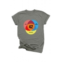 Letter Number Circle Printed Round Neck Short Sleeve Graphic Tee