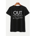 OUT Letter Printed Round Neck Short Sleeve Leisure Tee