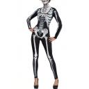 Cool Skeleton Printed Scoop Neck Long Sleeve Skinny Jumpsuit