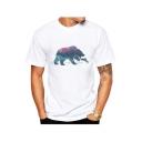 Landscape Polar Bear Fish Printed Round Neck Short Sleeve T-Shirt