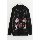 Mock Neck long Sleeve Bird Floral Embroidered Sweater