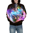 Digital Galaxy Printed Long Sleeve Casual Hoodie for Couple