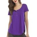 Button Front Round Neck Short Sleeve Plain Leisure T-Shirt