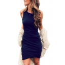 Round Neck Sleeveless Plain Mini Asymmetric Dress
