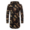 Slim Camouflage Printed Long Sleeve Tunic Hoodie for Men