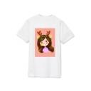 Kpop Twice Korean Star Cartoon MINA Printed Round Neck Short Sleeve T-Shirt