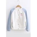 Color Block Tree Letter Graphic Embroidered Long Sleeve Button Front Jacket
