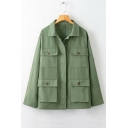 Lapel Collar Long Sleeve Button Front Work Shirt Jacket