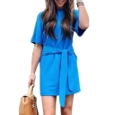Round Neck Short Sleeve Tie Waist Mini T-Shirt Dress