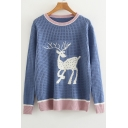 Color Block Deer Pattern Hollow Out Detail Long Sleeve Sweater