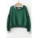 Striped Printed Trim Patched Round Neck Long Sleeve Stud Embellished Leisure Sweatshirt