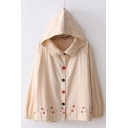 Chic Floral Embroidered Button Front Long Sleeve Hooded Jacket