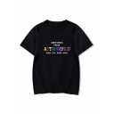 GREETING Letter Printed Round Neck Short Sleeve T-Shirt