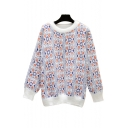 Floral Printed Mohair Round Neck Long Sleeve Sweater