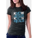 KNOW Letter Printed Round Neck Short Sleeve Casual Tee