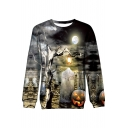 3D Halloween Tomb Printed Long Sleeve Round Neck Sweatshirt