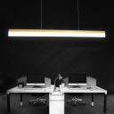 Modern Art Decorative 30W Led Office Dining Room Island Lighting Brass Finish Super Slim Linear Led Pendant Acrylic Cord Adjustable Led Lights