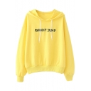 RABBIT JUMP Letter Embroidered Long Sleeve Hoodie