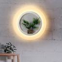 Botanic Style LED Light Circle Wall Sconce Lamp for Bedroom Study Room