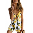 Lemon Printed Knotted Front Hollow Out Back Spaghetti Straps Sleeveless Romper