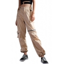Cool Zipper Embellished Drawstring Cuff Zip Up Leisure Cargo Pants with Flap Pockets
