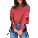 Round Neck Lace Up Detail Long Sleeve Plain Crop Sweatshirt