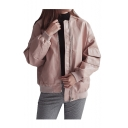 Stand Up Collar Long Sleeve Plain Zip Up Oversize Baseball Jacket with Flap Pocket