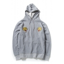 Tiger Embroidered Long Sleeve Casual Hoodie