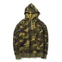Half Zip Front Camouflage Printed Long Sleeve Hoodie