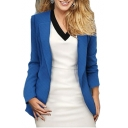 Lapel Collar Long Sleeve Slim Tailored Plain Blazer