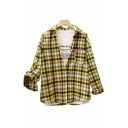 Lapel Collar Long Sleeve Plaid Printed Button Front Leisure Shirt