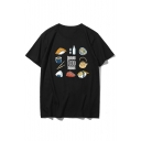 Food Letter Printed Short Sleeve Round Neck T-Shirt