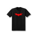Bat Printed Round Neck Short Sleeve T-Shirt