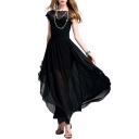 Elegant Lace Insert Round Neck Short Sleeve Maxi A-Line Dress