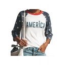 Color Block Star Printed Raglan Long Sleeve AMERICAN Letter Slim T-Shirt