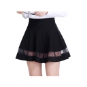 High Waist Mesh Patchwork Plain Mini A-Line Skirt