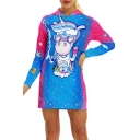 Fancy Cartoon Unicorn Printed Long Sleeve Mini Hooded Dress