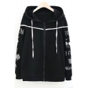 Cat Letter Embroidered Long Sleeve Contrast Trim Zip Up Hoodie