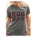 HUG DEALER Letter Printed Round Neck Short Sleeve Tee