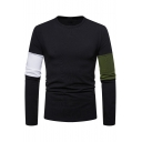 Color Block Round Neck Long Sleeve Slim T-Shirt