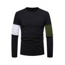 Color Block Round Neck Long Sleeve Slim T-Shirt