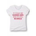 IT COULD BE Letter Printed Round Neck Short Sleeve T-Shirt