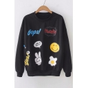 Letter Cartoon Printed Round Neck Long Sleeve Casual Sweatshirt