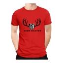 BEER HUNTER Letter Printed Round Neck Short Sleeve T-Shirt